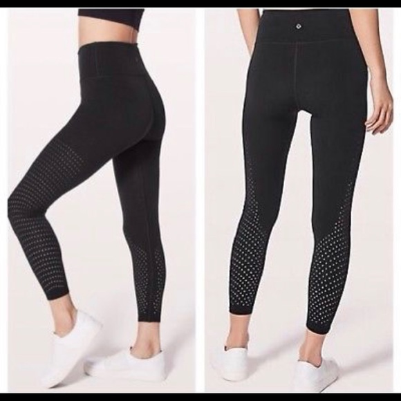 25cba7d54deaa8 lululemon athletica Pants | Lululemon Black Reveal Tights Size 6 ...